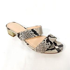 J. CREW Snakeskin Sparkle Block Heel Slip Sandal